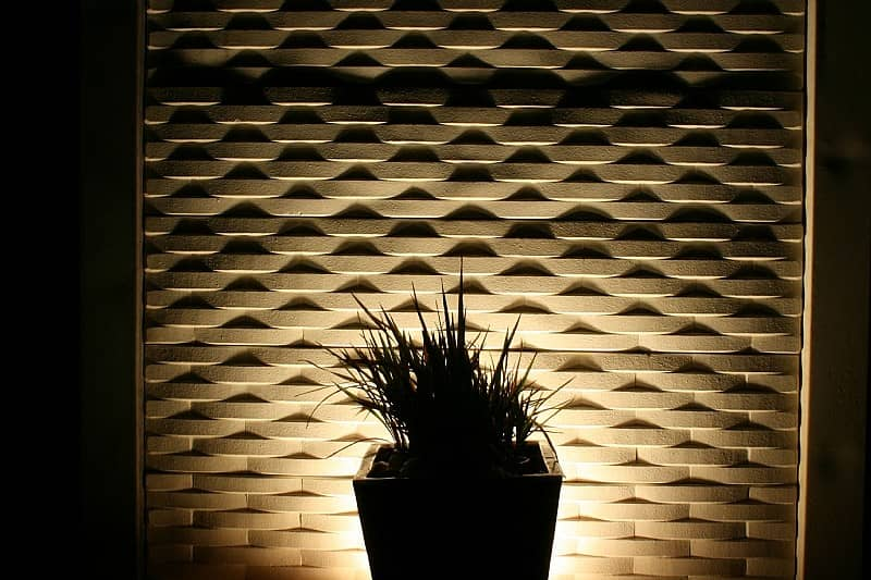 Stoneweave Fencing Backlit Retaining Wall